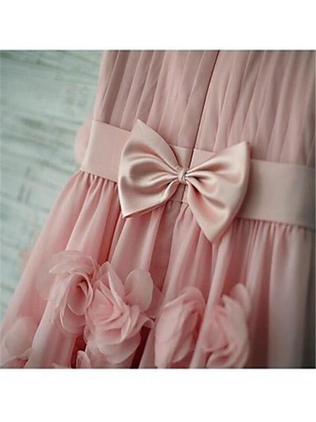Unique Pink Spaghetti Straps Zipper Up A-Line Chiffon Flower Girl Dresses With Appliques, TYP1151