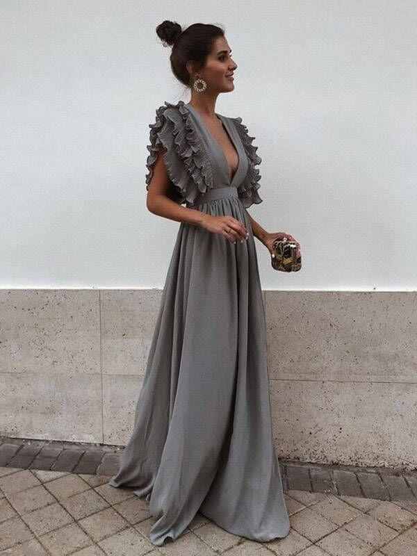 Grey Chiffon V Neck A Line Simple Long Bridesmaid Prom Dresses, TYP1444