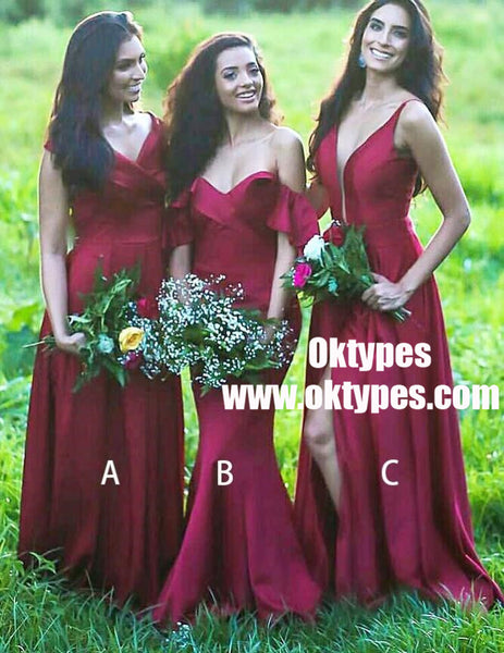 A-Line V-Neck Dark Red Satin Long Bridesmaid Dress with Pleats, TYP0931