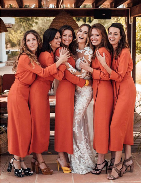 17a1d0a444 Shift V-Neck Long Cheap Orange Chiffon Bridesmaid Dresses with Long  Sleeves, TYP1320