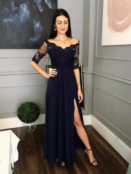 Navy Blue Half Sleeves Side Slit A Line Lace Prom Party Dresses, TYP1446