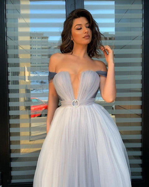2020 Elegant Off the Shoulder Pleated A Line Gradient Tulle Floor Length Cheap Evening Prom Dresses, PDS0061