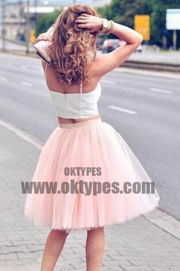 Two Pieces Spaghetti Straps Cheap Homecoming Dresses 2018, Homecoming Dresses, TYP0494