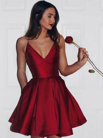 Simple Spaghetti Red Satin Short Prom Dresses, Homecoming Dresses, V-neck Prom Dresses, TYP0656