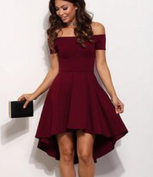 Off Shoulder Dark Red Cheap 2018 Homecoming Dresses Under 100, TYP1142