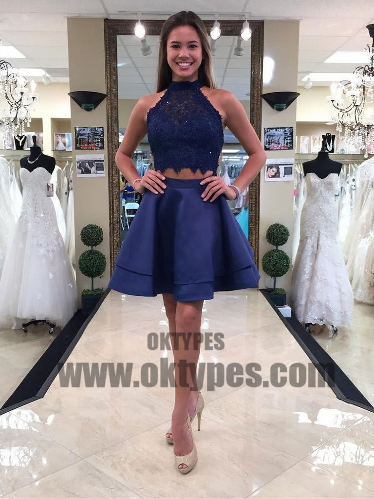 Two Pieces Blue Lace Halter Cheap Homecoming Dresses 2018, Homecoming Dresses, TYP0495