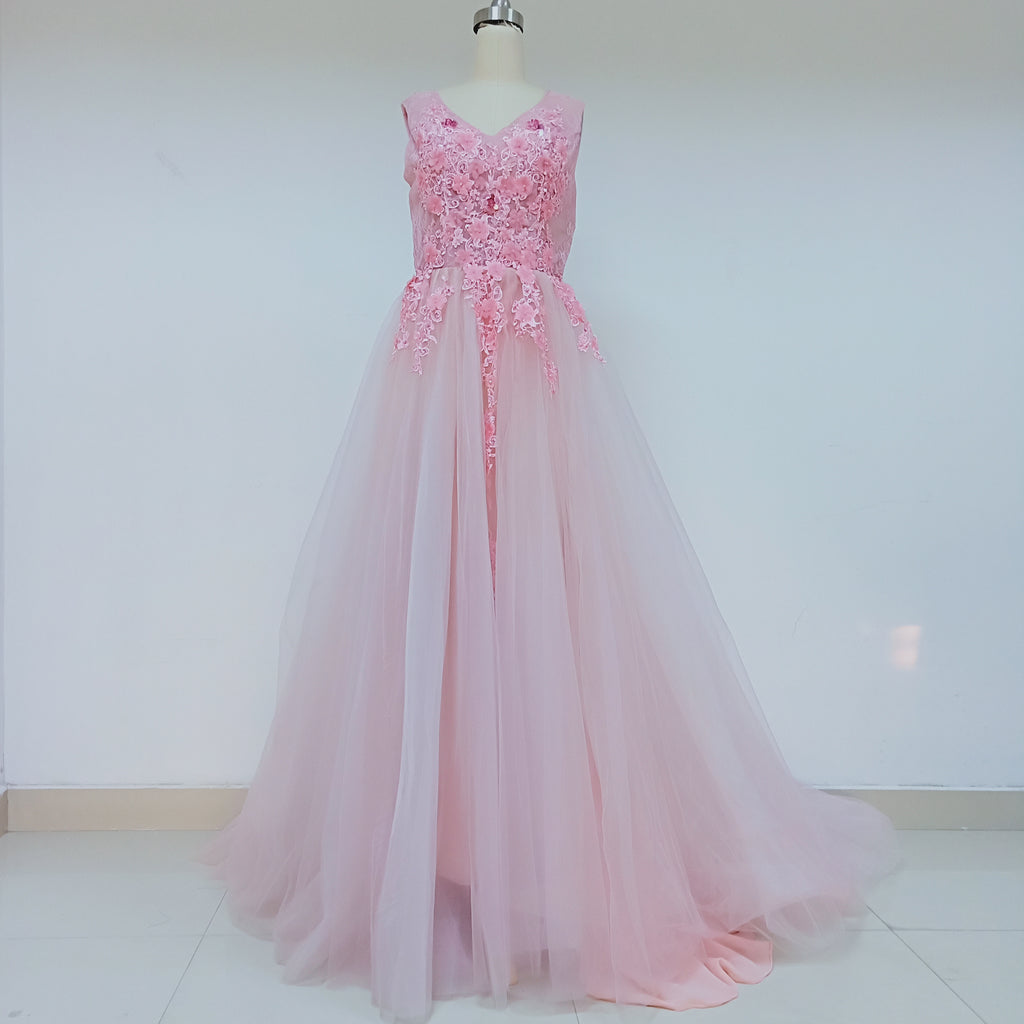 Pink Long Cheap Tulle Prom Dresses With Handmade Flower_US8, SO030