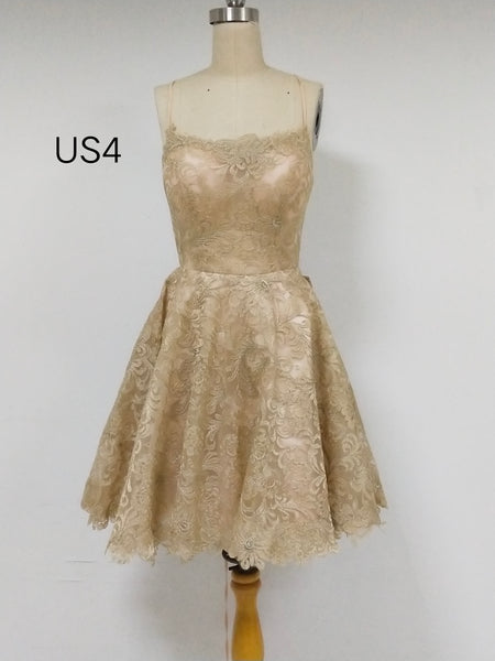 Gold Lace Short Cheap Homecoming Dresses_US4, SO19