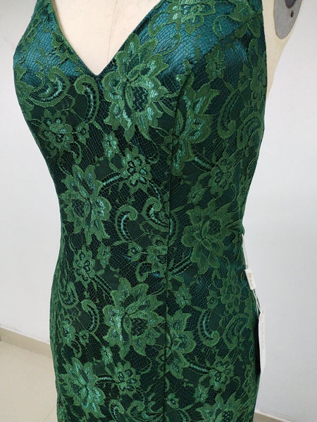 Sexy Green Long Cheap Lace Prom Dresses_US4, SO021