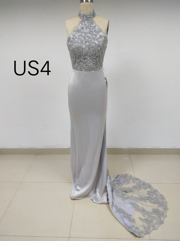 Grey Halter Long Cheap Prom Dresses with Beaded_US4, SO022