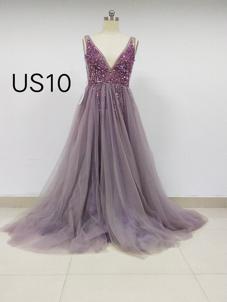 Grape Tulle Long Cheap Prom Dresses With Beaded_US10, SO020
