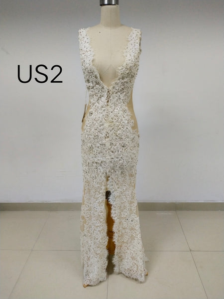 Ivory Lace Long Prom Dresses With Beaded & Side Slit_US2, SO024