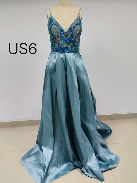 Dusty Blue V-neck Long Cheap Prom Dresses_US6, SO026