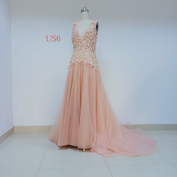 Pink Long Cheap Tulle Prom Dresses With Handmade Flower_US6, SO029