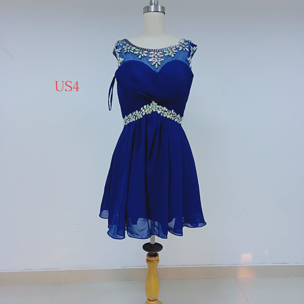 Royal Blue Chiffon Homecoming Dresses With Beaded_US4, SO032
