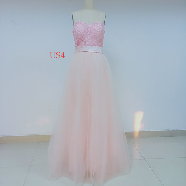 Pink Long Cheap Tulle Prom Dresses With Applique_US4, SO031
