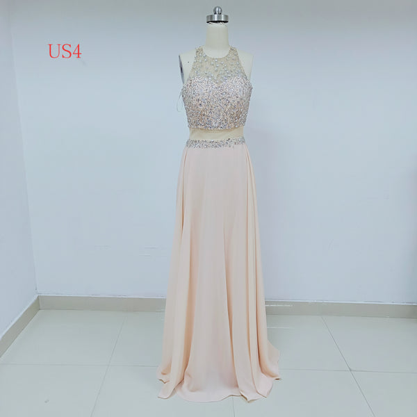 Two Piece Blush Pink Long Prom Dresses With Beaded_US4, SO035