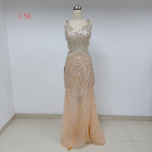Champagne Long Cheap Prom Dresses_US6, SO037