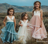 Lovely V Neck Sleeveless Organza Flower Girl Dresses for Wedding Party, TYP1952