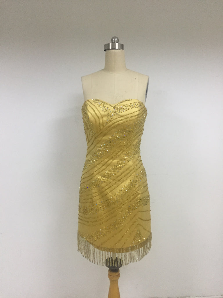 Gold Tight Beaded Homecoming Dresses_US4, SO013