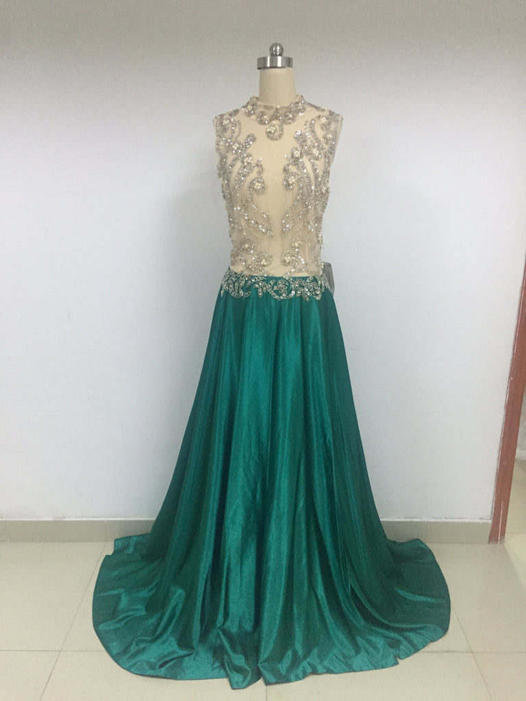 Satin Beaded Long Prom Dresses_US6, SO008