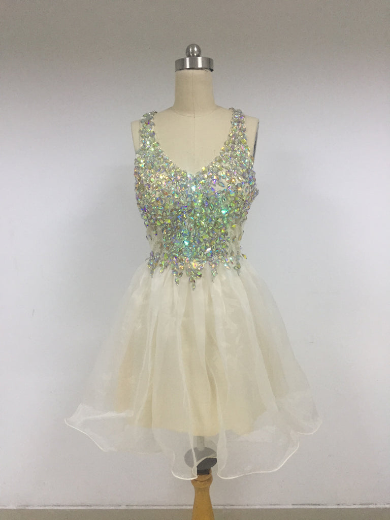 Ivory Top Beaded Tulle Homecoming Dresses_US6, SO012
