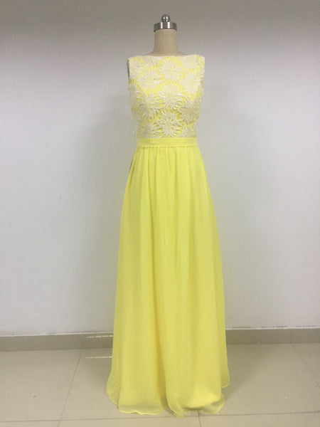 Yellow Chiffon Long Prom Dresses_US4, SO010
