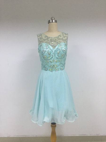 Sky Blue Top Beaded Chiffon Homecoming Dresses_US4, SO014