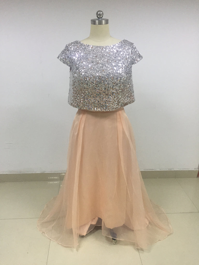 Champagne Two Piece Sequin Top Tulle Skirt Bridesmaid Dresses_US12, SO011