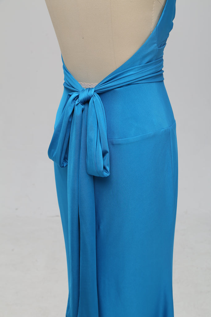 Teal Halter Mermaid Backless Long Cheap Bridesmaid Dresses Online, TYP1072
