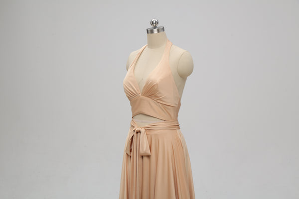 Sexy Gold Halter V-neck Backless Long Cheap Bridesmaid Dresses Online, TYP1074