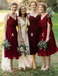 Mismatched A-Line V-Neck Pleated Dark Red Chiffon Bridesmaid Dresses, TYP1316