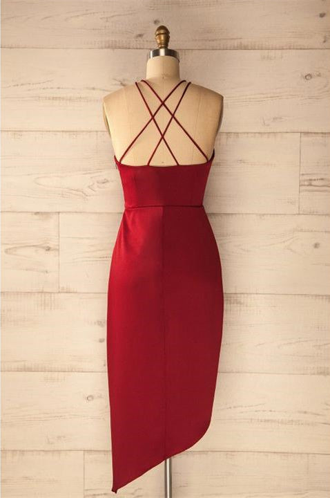 Hot selling Spaghetti Straps V-neck Simple Cheap Red Homecoming Dresses, TYP1108