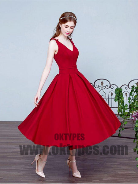 Pleated Red Prom Prom Dresses Beautiful Long V-Neck Sleeveless Lace Up Prom Dresses, TYP0415
