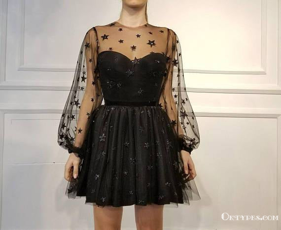 A-Line Crew Long Sleeves Short Black Homecoming Dresses with Beading, TYP1968