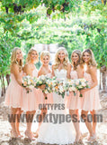 Customized Pleated Pink Bridesmaid Dresses Admirable Short Sweetheart Sleeveless Zipper Dresses, TYP0458
