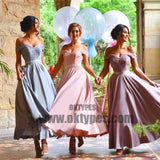 Customized Applique Lilac Bridesmaid Dresses Light Long Off-the-Shoulder Sleeveless Zipper Dresses, TYP0457