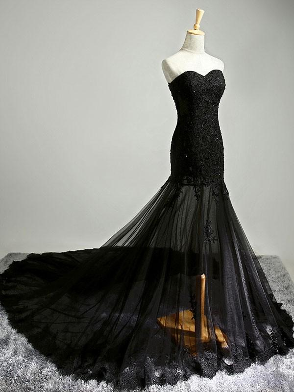 Black Sexy Sweetheart Sheath/Column Prom Dresses/Evening Dresses with Applique, TYP1346