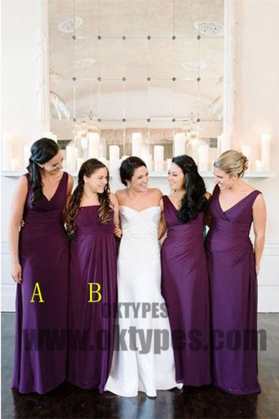 A line Bridesmaid Dresses, Purple Bridesmaid Dresses, Long Bridesmaid Dresses With Bodice Sleeveless V-Neck, TYP0448