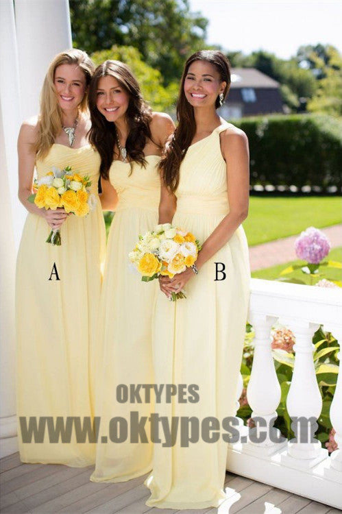 A-line Bridesmaid Dresses, Daffodil Bridesmaid Dresses, Long Bridesmaid Dresses With Bodice Sleeveless One Shoulder, TYP0449