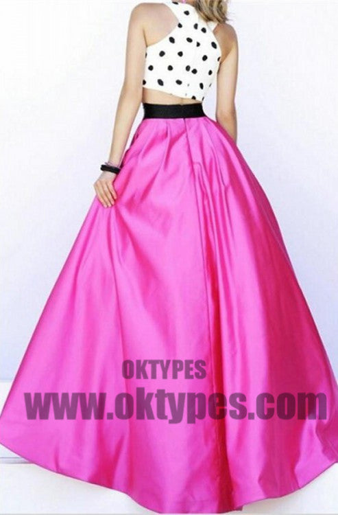 Gown Evening Dresses, Fuchsia Evening Dresses, Long Prom Dresses With Dots Sleeveless Halter, TYP0461