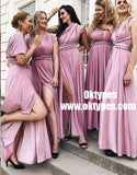 A-Line V-Neck Ankle Length Convertible Style Purple Satin Bridesmaid Dresses, TYP0914