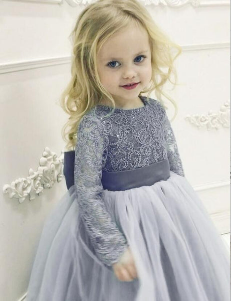 Long Sleeve Lace Round Neck Dusty Blue Tulle Flower Girl Dress with  Bowknot, TYP1007
