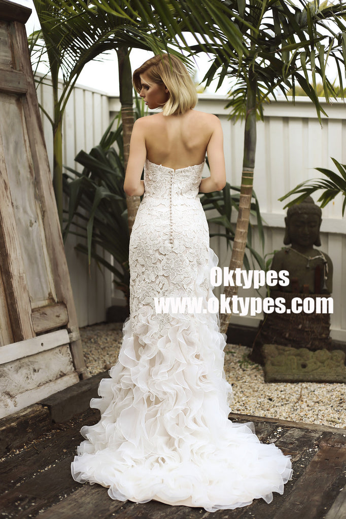 Sweetheart Lace Backless Zipper Wedding Dresses With Ruffles, TYP0958