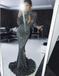 Mermaid High Neck Cut Out Grey Sequined Prom Dresses Online, TYP1307