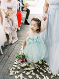 Mint Green Tulle Round Neck With Bow Appliques Cute Flower Girl Dresses, TYP1417