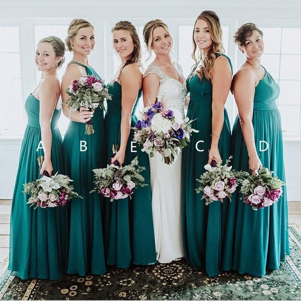176b3db012db Chiffon Mismatched Affordable Hot Sale Long Turquoise Bridesmaid Dresses,  TYP1409