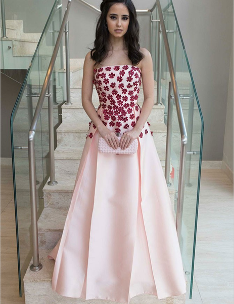 A-Line Strapless Pleated Pink Satin Prom Dresses with Appliques, TYP1292