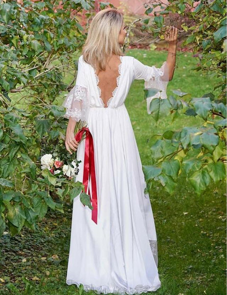 Simple V-Neck Long Sleeves Satin Wedding Party Dresses with Lace, TYP1057
