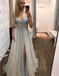 A-Line V-Neck Long Cheap Sleeveless Grey Tulle Prom Dresses with Beading, TYP1295